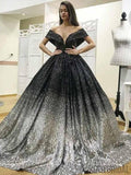 Off Shoulder Gradient Black-Silver Sequin Long Prom Dresses, PD0858