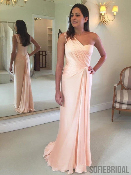 One-shoulder Sheath Simple Long Bridesmaid Dresses With Pleats, BD0572
