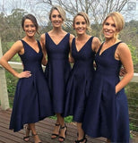 Short V-neck Satin A-line Navy Blue Bridesmaid Dresses for Wedding Party, WG84