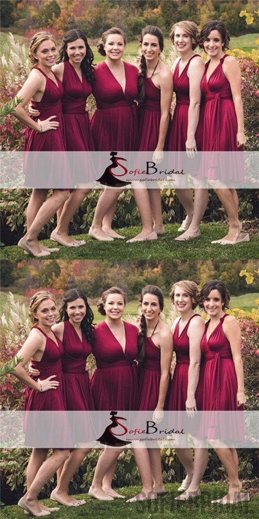 Convertible Bridesmaid Dresses, Short Bridesmaid Dresses, Cheap Bridesmaid Dresses, PD0506