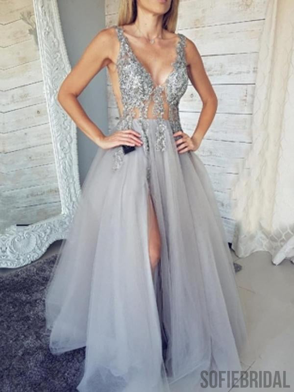 Silver Prom Dresses, Side Slit Prom Dresses, Long Prom Dresses, Cheap Prom Dresses, PD0679