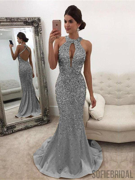 Silver Rhinestone Beaded Long Mermaid Prom Dresses, Simple Prom Dresses, PD0764