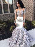 Silver Floral Lace Beaded Long Mermaid Prom Dresses, PD0797
