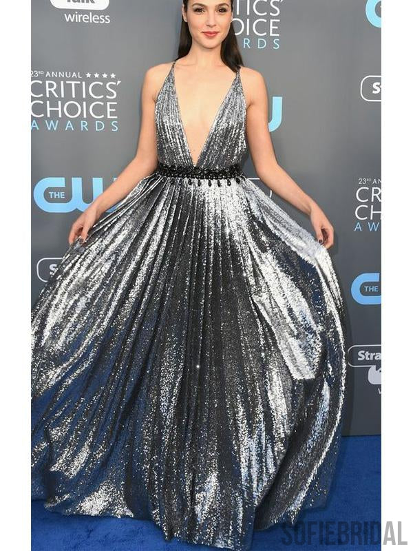 Gal Gadot Deep V-neck Long A-line Silver Sequin Prom Dresses(belt not included), PD0933