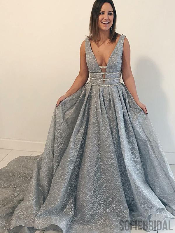 V-neck Special Grey Sequin Tulle Long Prom Dresses, A-line Prom Dresses , PD0783