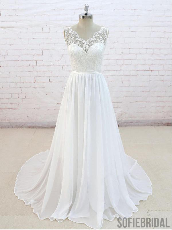 Lace See Through V Neck Cheap Beach Wedding Dresses Online, WD382