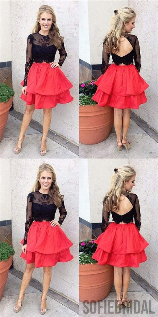 2 Pieces Black Lace Top Homecoming Dresses, Red Homecoming Dresses, Cheap Homecoming Dresses, SF0115