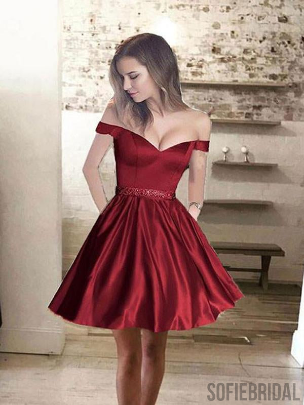 Simple Off Shoulder Red Short Cheap Homecoming Dresses 2018, CM431