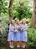 Sweetheart Strapless Tea-length Chiffon Bridesmaid Dresses With Shawl, BD0577