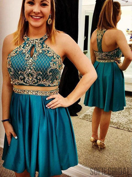 Teal  Cheap Cute Short Two Piece Homecoming Dresses Under 2018, CM463