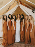 A-line Spaghetti Straps Long Bridesmaid Dresses With Split, BD1068
