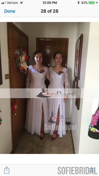 Feedback for White Lace Side Slit Elegant Prom Dresses(custom color white+custom size)
