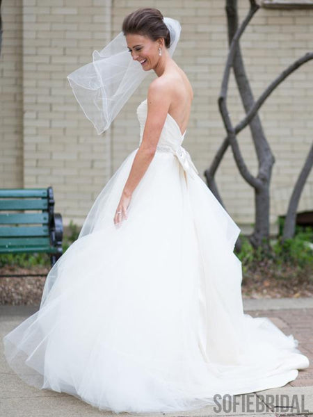 Sweetheart Long A-line Ivory Tulle Beaded Waist Wedding Dresses, WD0287