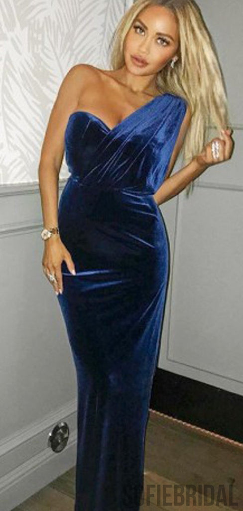 One Shoulder Navy Velvet Long Prom Dresses, PD0838