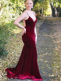 Spaghetti Long Mermaid Sexy V-neck Velvet Prom Dresses, PD0885