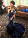 Off Shoulder Navy Velvet Lace Long Mermaid Prom Dresses, PD0871