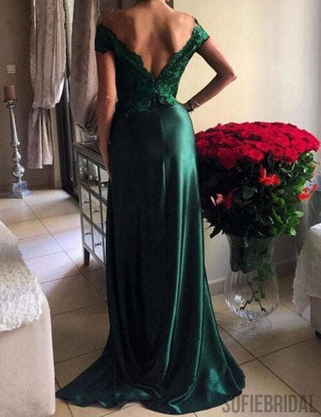 Off Shoulder Green Lace Satin Front Slit Sexy Long Prom Dresses, PD0237