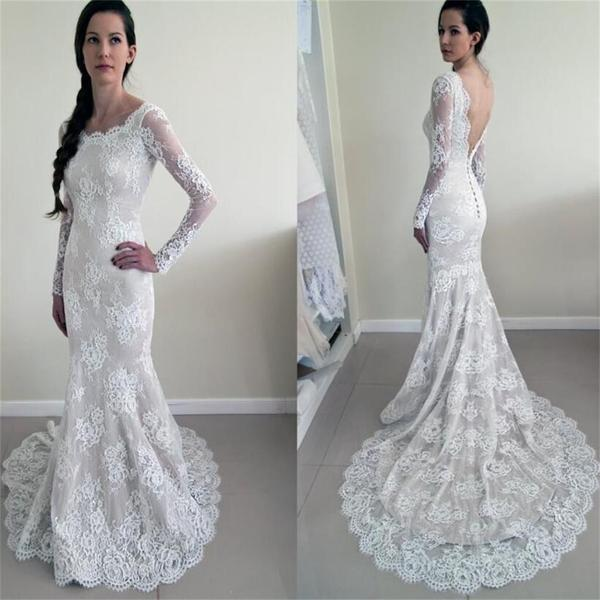 Round Neck Long Sleeve See Through Lace Mermaid V-back Wedding Dresses, WD0215