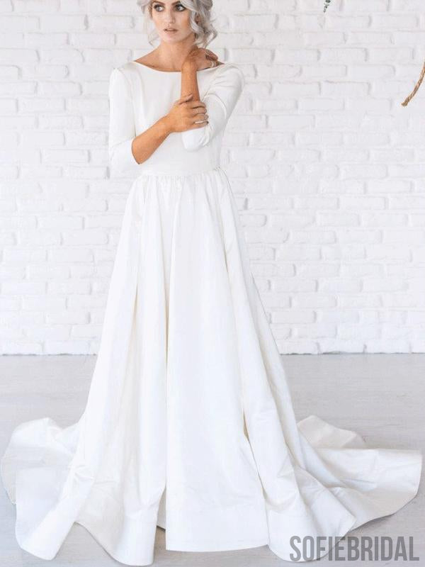 Scoop Neckline 3/4 Sleeves Long A-line Backless Wedding Dresses, WD0274