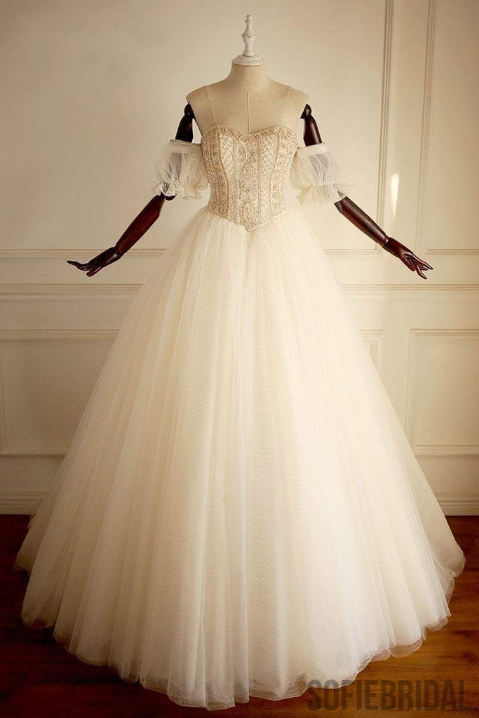 Off Shoulder Beaded A-line Lace Long Custom Cheap Wedding Bridal Dresses, WD302