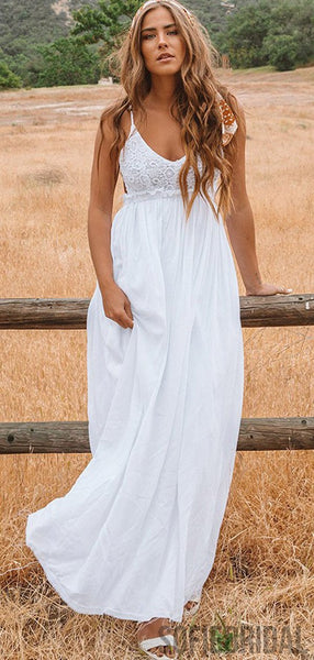 V-neck Lace Top Long A-line Backless Country Wedding Dresses, WD0275