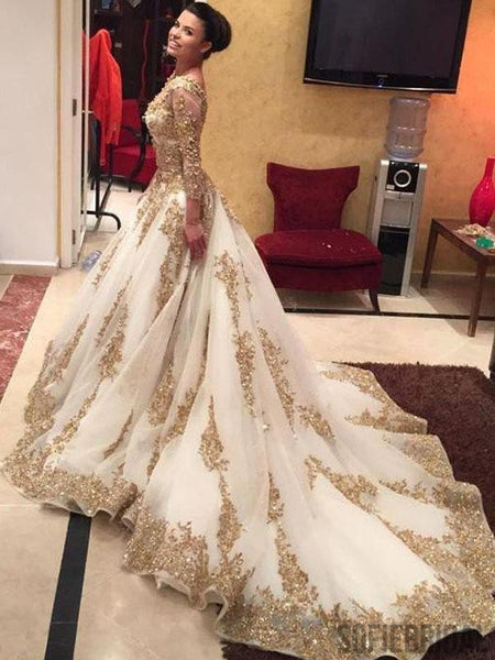 Long Sleeve V-neck Gold Lace Ball Gown White Organza Gorgeous Prom Wedding Dresses, PD0535