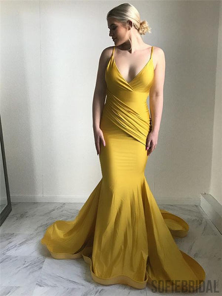 Spaghetti V-neck Prom Dresses, Yellow Mermaid Prom Dresses, Popular Prom Dresses, PD0691