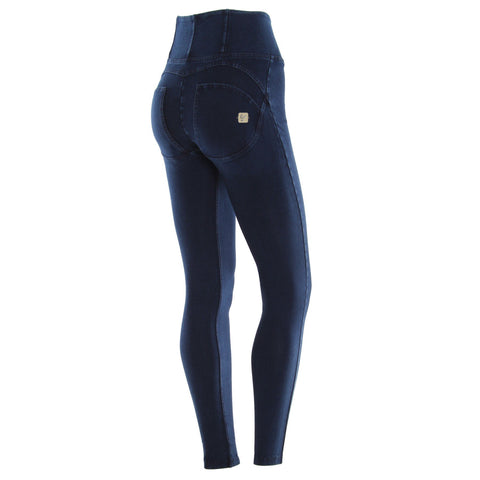 WR.UP® High Waist Full Length Denim Dark Blue + Blue Stitching