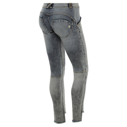 WR.UP® Mid Waist Stonewash Denim With Fringed Hems