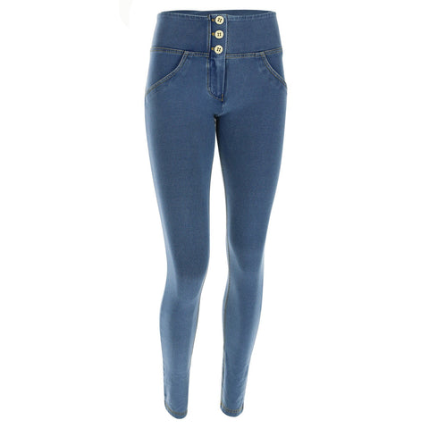 WR.UP® High Waist 3 Button Denim Light Blue + Yellow Stitching