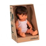 Miniland Doll - Anatomically Correct Baby, Caucasian Boy, Brunette, 38 cm