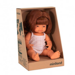 Miniland Doll - Anatomically Correct Baby, Caucasian Girl, Red Head 38 cm