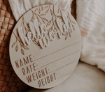 "Wooden + Acrylic ""Hello World' birth announcement disc"