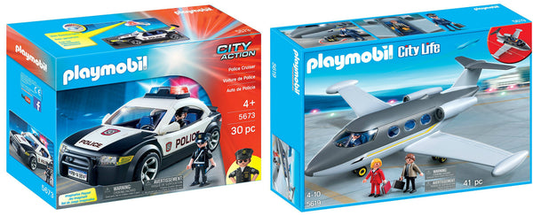 Playmobil police cruiser and private jet