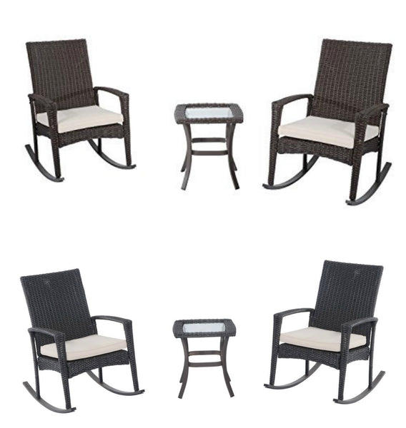 3-piece outdoor rocking chair and table set