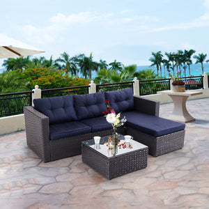 3 Piece Outdoor Rattan Sectional Sofa