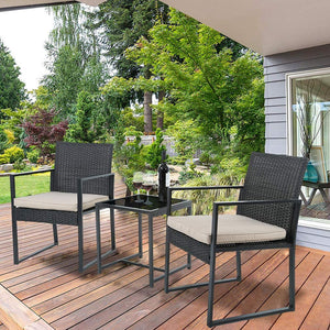 3 Pieces Outdoor Wicker Patio Conversation Set