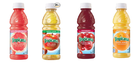 Pack of 24 Tropicana orange, apple, cranberry and grapefruit juice
