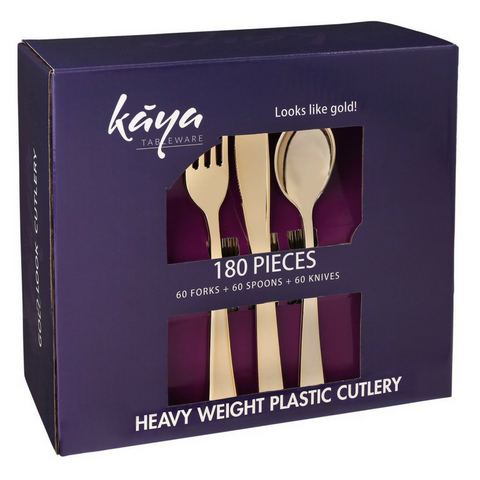180 piece Kaya Collection plastic cutlery set