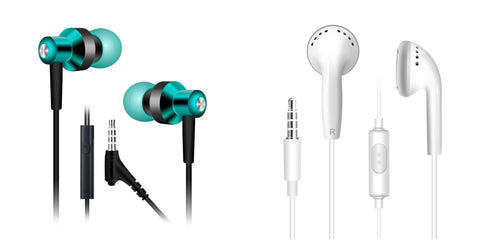 Stereo earbuds with mic and volume control