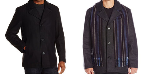 Perry Ellis Wool-Blend Coat with Scarf