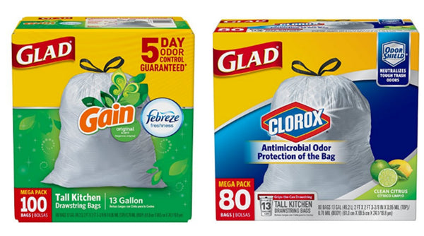Pack of 80 or 100 Glad 13 gallon trash bags