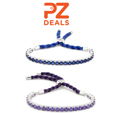 Womens Spectacular Silk Adjustable Cubic Zirconia Bracelets - 4 colors