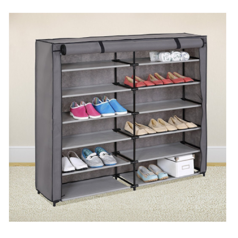 42-Pair, 7-Tier Shoe Rack Organizer with Fabric Cover