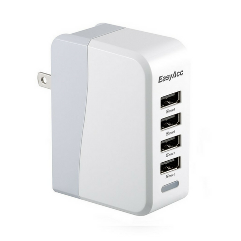 4-port USB wall charger with folding plug