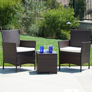 3 Piece Outdoor Patio Wicker Cushion Set