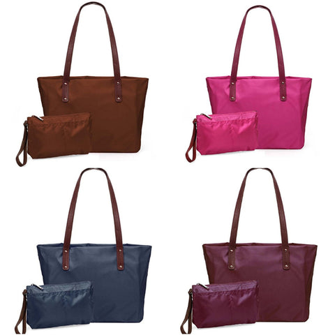 2 in 1 shopper tote and wristlet clutch bag