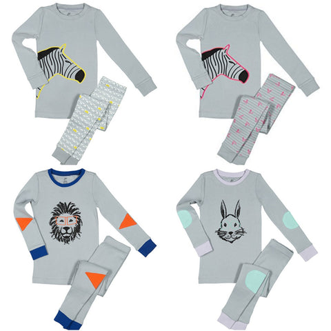 Zebra, lion and bunny rabbit kids pajamas