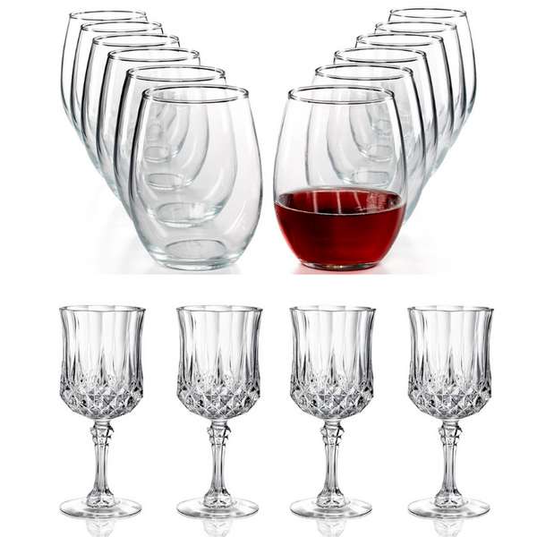 4 Longchamp Cristal D'Arques Glasses And 12 Martha Stewart Glasses On Sale