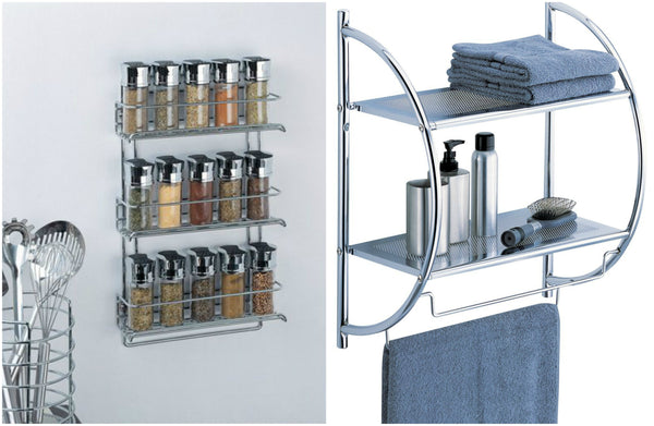 3-Tier Wall-Mounted Spice Rack and 2-Tier Shelf with Towel Bars